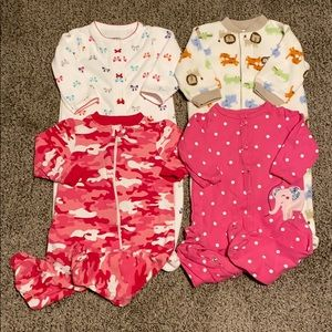 Lot of 4 Baby Girls Footed Pajamas Size 6 Months